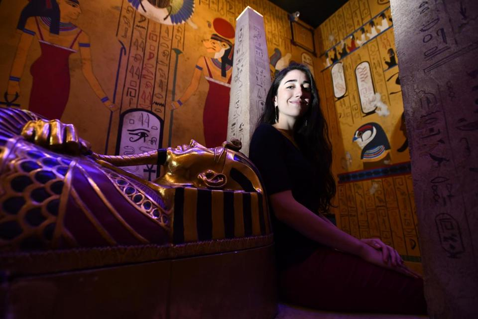 Michelle Frea, director of game development, in the Egyptian tomb-themed room, found inspiration for the hands-on riddles in children's museums.